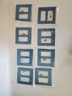 8 PACK-Leviton Two-Gang  Wall Plate- Cerulean Blue  metal