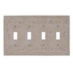 Amertac 8349T4A 4 Toggle Faux Stone Almond Wallplate, Crème
