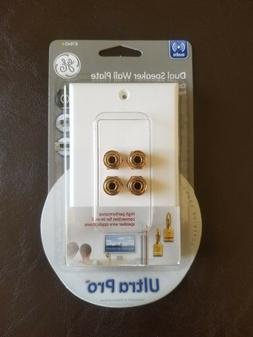GE 87645 Dual Speaker Wall Plate with 4 Post Center Pin