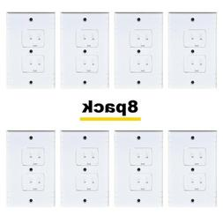 8X Electrical Outlet Cover Wall Plate Duplex Receptacle Repl