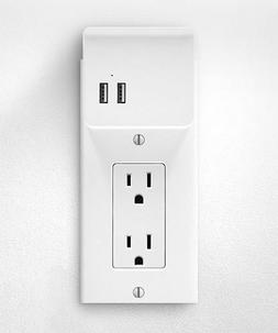 Aluratek - Usb Charging Decor Wall Plate - White
