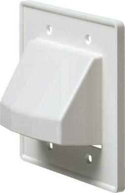 Arlington CE2-1 Recessed Low Voltage Cable Plate, 2-Gang, Wh