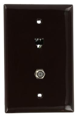 Leviton 40539-CMB Midsize Telephone/Video Wall Jack, 6P4C X