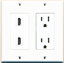 RiteAV - 15 Amp Power Outlet 2 Port HDMI Decora Type Wall Pl