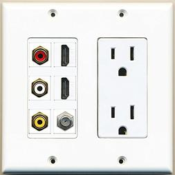 RiteAV - 2 x 15 Amp 125V Power Outlet 3 x RCA - 2 X HDMI and