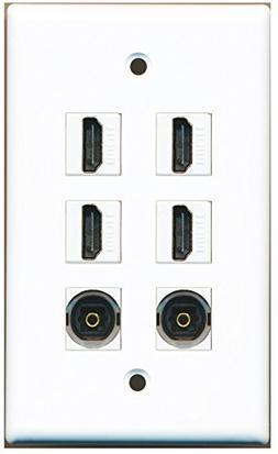 RiteAV - 4 Port HDMI 2 Port Toslink Wall Plate White
