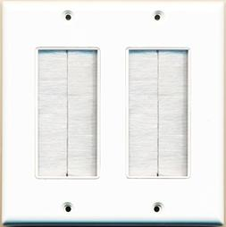 RiteAV - Dual Gang Wall Plate with Brush Bristles - White