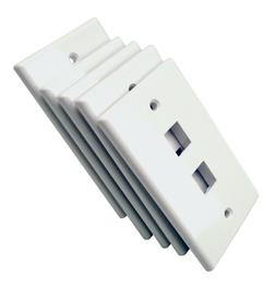 Shaxon BM303WP2-5B, 2 Port Single Gang White Keystone Wall P