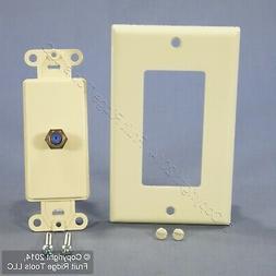 Leviton Almond Decora Coax Cable CATV Wall Plate Video Jack