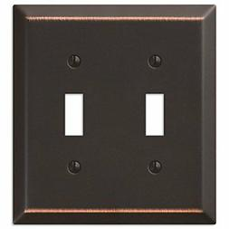 Amerelle 163TTDB Traditional Steel Wallplate with 2 Toggle,