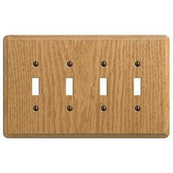 AMERELLE Contemporary 4 Gang Toggle Wood Wall Plate - Light