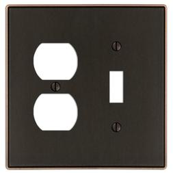 Amerelle Ansley Cast 1 Toggle and 1 Duplex Wall Plate - Aged
