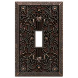 Arabesque Filigree Aged Bronze Switchplate Outlet Cover Wall