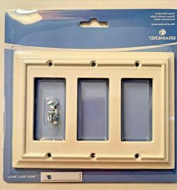 BRAINERD ARCHITECTURAL WHITE WOOD TRIPLE DECORATOR SWITCH PL