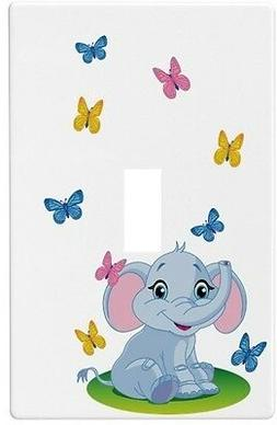 Baby Elephant Butterflies Wall Plate Decorative Light Switch