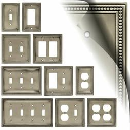 Beaded Brushed Satin Pewter Switch Plate Toggle Duplex Outle