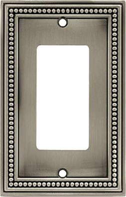 Beaded Single Decorator Wall Plate, Brushed Satin Pewter