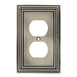 Beaded Single Duplex Wall Plate, Brushed Satin Pewter