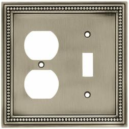 Beaded Single Switch/Duplex Wall Plate - Finish: Brushed Sat