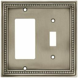 Beaded Single Toggle Switch Decorator Switch Wall Plate - Br