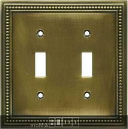 Beaded Tumbled Antique Brass  Switch Plates, Wall Plates & O