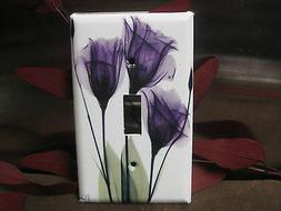 beautiful purple gentian flower light switch wall