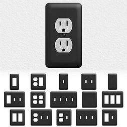 Black Metal Wall Switch Plate Outlet Cover Toggle Duplex Roc