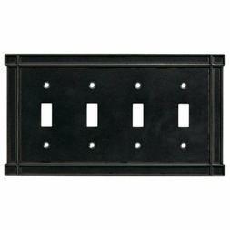 Black Quad Toggle Wall Plate Arts & Crafts Soft Iron Brainer