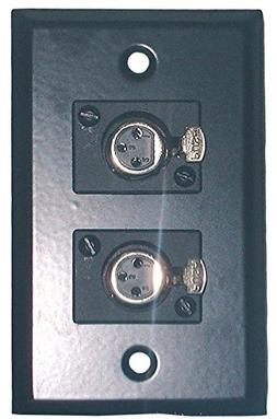 Philmore Black Stainless Steel Wall Plate With Dual  XLR 3-P