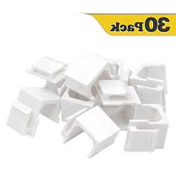 VCE 30-PACK Blank Keystone Jack Inserts for Wallplate