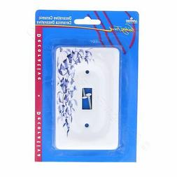 Leviton Blue Flower Porcelain Switch Cover Wallplate Switchp