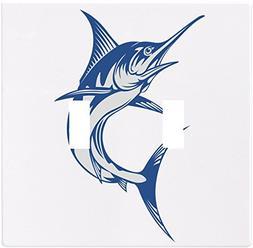 Blue Marlin Fish Wallplate Decorative Light Switch Plate Cov
