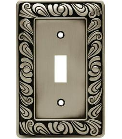 Brainerd Paisley Single Switch Wall Plate #64048 - Brushed S