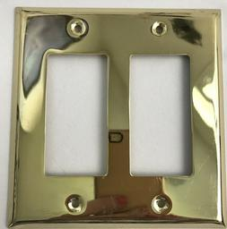 AmerTac Brass Switch Wall Plates 2 Rocker 163RR - LOT OF FOU