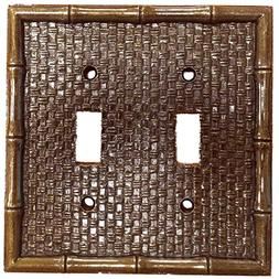 Leviton Brass Tiki Bamboo 2-Gang Switch Cover Plate Switchpl