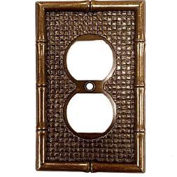 Leviton Brass Tiki Bamboo Receptacle Wallplate Duplex Outlet