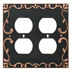 Bronze Double Duplex Wall Plate Classic Lace Franklin Brass