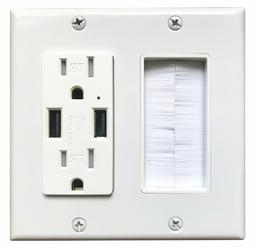 brush wall plate with electrical outlet 15a
