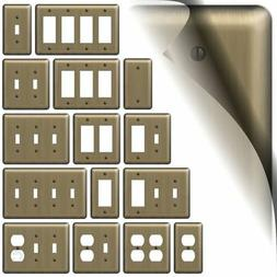 Brushed Brass Devon Switch Plate Wallplate Duplex Outlet Cov