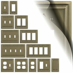 Brushed Brass Switch Plate Continental Wallplate Duplex Outl