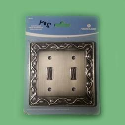 Brainerd Brushed Satin Pewter 2-Gang Double Toggle Wall Plat