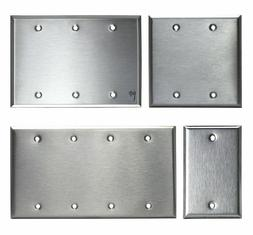 Brushed Stainless Steel Blank Outlet Cover / No Device Wall