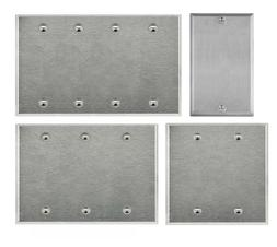 Brushed Stainless Steel Blank Outlet Cover / Wall Plate Ener