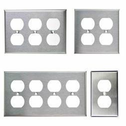 Brushed Stainless Steel Outlet Cover Duplex Metal Wall Plate