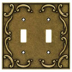 BRAINERD Burnished Antique Brass Scroll Double Light Switch