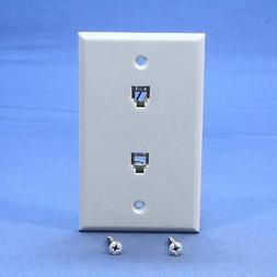 Leviton C0254-W Duplex Flush Mount Phone Jack Wall Plate, Wh