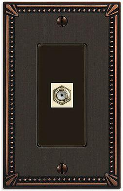 CABLE TV & HARDWARE SWITCHPLATE IMPERIAL BEAD ANTIQUE BRONZE