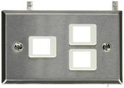 C2G 37095 3-Port Keystone Single Gang Wall Plate, TAA Compli