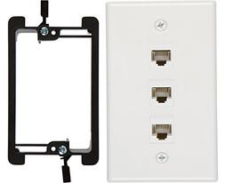Buyer's Point 3 Port Cat6 Wall Plate, Female-Female White wi