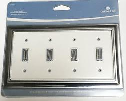 CHROME WHITE Quad 4 gang Light Switch Toggle Cover Wall Plat